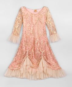 Look what I found on #zulily! Dusty Gold Pick-Up Dress - Toddler & Girls by Mia Belle Baby #zulilyfinds