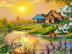 Browse pictures, photos, images, GIFs, and videos on Photobucket Nature Paintings, Beautiful Paintings, Beautiful Landscapes, Landscape Paintings, Beautiful Gif, Beautiful Places, Beautiful Pictures, Belle Image Nature, Gif Bonito