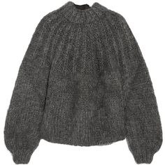 GANNI Julliard open-back mohair and wool-blend sweater (5.919.315 IDR) ❤ liked on Polyvore featuring tops, sweaters, ganni, charcoal, charcoal sweater, open-back tops, over sized sweaters, wool blend sweater and structured top
