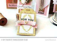 For You Gold Glitter Valentine Tag featuring Tag Builders Blueprints Dienamics from MFT Stamps