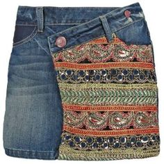 Desigual Ethnic Falda Vaquera Denim Medium Wash vestidos y faldas Wash vaquera Medium falda Ethnic desigual Denim Noe.Moda