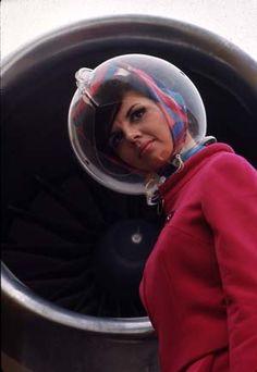 Braniff Stewardess in Bubble Helmet