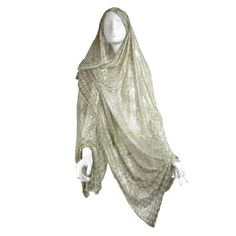 1920's Art Deco Egyptian Assuit Hooded Shawl | From a collection of rare vintage scarves at https://www.1stdibs.com/fashion/accessories/scarves/