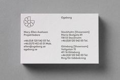 business cards for Ogeborg designed by Kurppa Hosk.