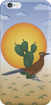 This iPhone case features a greater roadrunner, or Californian Earth-cuckoo, which is one of the larger animals that one would see running about in the United States southwest desert. The prickly pear cactus is typical of the type of plant life the area. The large, oppressive sun and sparse, rainless clouds give the impression of heat and dryness, and the spiny little things dotting the landscape warn of danger to the unwary.