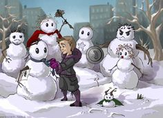 Little Hawkeye and his Snowman Avengers - Geek Art - News - GeekTyrant - Visit to grab an amazing super hero shirt now on sale!