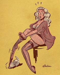 """ hillbillyholly: "" Sveta Shubina "" Oh no ' "" Comics Vintage, Vintage Cartoons, Sexy Cartoons, Vintage Art, Vintage Pins, Pinup Art, Cartoon Kunst, Comic Kunst, Cartoon Art"