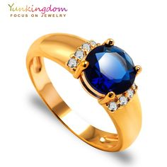 Yunkingdom Shiny big Cubic Zirconia Rings For Women synthetic ruby sapphire jewelry gold plated ring 6 colors