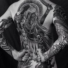Blackwork backpiece by Alexander Grim. Kali Tattoo, Backpiece Tattoo, Alexander Grim, Back Tattoos, Body Art Tattoos, Sleeve Tattoos, Tatoos, Tattoo Life, Geometric Tattoos