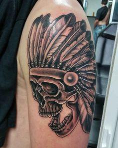 Tattoo Indian Skull  - http://tattootodesign.com/tattoo-indian-skull/  |  #Tattoo, #Tattooed, #Tattoos