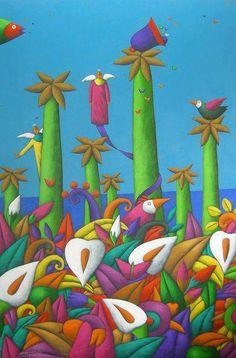Solve Angels jigsaw puzzle online with 260 pieces Botanical Illustration, Illustration Art, Color Me Beautiful, Naive Art, People Art, Silk Painting, Prismacolor, Bird Art, Landscape Art