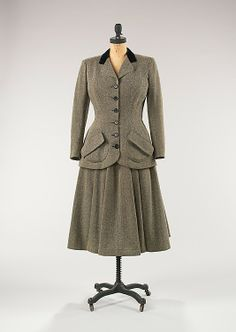 Suit  House of Balenciaga  (French, founded 1937)  Designer: Cristobal Balenciaga (Spanish, 1895–1972) Date: spring/summer 1947 Culture: French Medium: wool, silk
