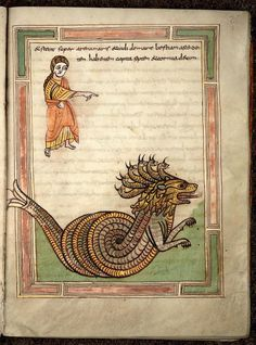 Project: Medieval Bestiary- There be Dragons! (Apr-May - WetCanvas Medieval Books, Medieval Manuscript, Medieval Art, Illuminated Letters, Illuminated Manuscript, Apocalypse, Art Et Architecture, Art Roman, Dragons