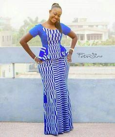Beautiful blue chitenge long dress. Kanyget fashions+