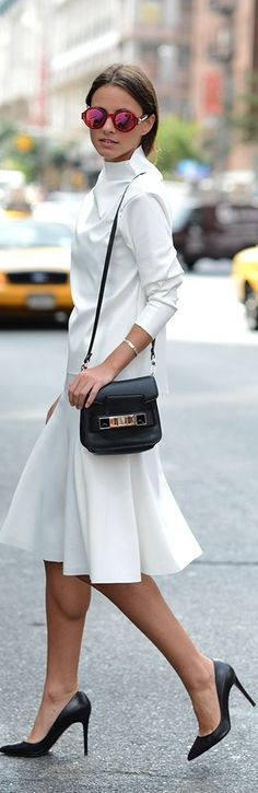 NY City Style. White with black Accessories & Black Louboutins