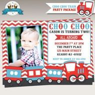 Choo-Choo Train Birthday Party Photo Invitations by Lil Faces Printables
