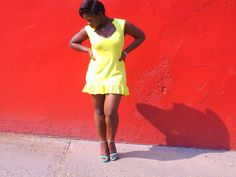 Sleeveless Flared Mini Dress designed and handmade by me. Fabrication: Double Knit