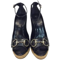 Preowned Gucci Patent Leather Peep Toe Wedge (385 CAD) ❤ liked on Polyvore featuring shoes, black, black wedge shoes, gucci, black wedge heel shoes, patent leather wedge shoes and peep toe shoes