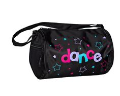 """This sassy black duffel is accented with """"dance"""", stars and dots printed in bright muli-colors dancing across the bag. This classic style duffel also has a side zippered pocket and an adjustable shoulder strap Dimensions: x diameter Material: Microfiber Dance Bags, Pj, Classic Style, Gym Bag, Shoulder Strap, Ballet, Duffle Bags, Dance Ballet, Ballet Dance"""