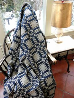 Antique Coverlet  American Coverlet  Blue and by thekingsmistress, $185.00