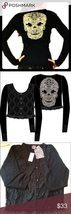 Too Fast cropped cardigan 💀 Adorable short black cardigan with cream lace skull design on the back. Lace front & lace detailing on edge. Super cute, just doesn't fit me. #toofast #skull #lace #cardigan Hot Topic Sweaters Cardigans