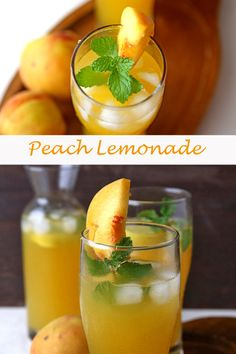 Refreshing fruity nonalcoholic drink perfect for a hot day. On The Go Snacks, Healthy Snacks For Kids, Easy Snacks, Peach Fruit, Ripe Peach, Tasty Vegetarian Recipes, Healthy Recipes, Peach Lemonade, Veg Soup