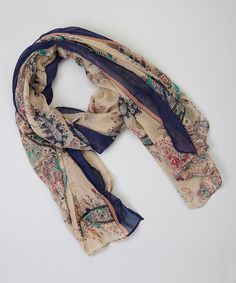Look at this Navy & Parchment Paisley Scarf on #zulily today!