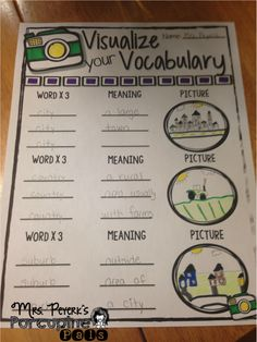 {Vocabulary Freebie} Students write the vocabulary word three times, write the meaning of the word (or definition) and finally they draw a picture to match the vocabulary word. Print back to back to have space for 7 words!