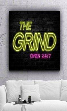 Grind Open Canvas Print Wall Office Decor Modern Art Motivation Motivational Entrepreneur Inspirational Hustle Success Grinding Quote x Modern Decor, Modern Art, Motivational Images, Motivate Yourself, Life Images, Office Decor, Encouragement, Poster Prints, Canvas Prints
