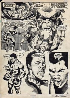A page from the classic Superman vs. Muhammad Ali. Neal Adams.