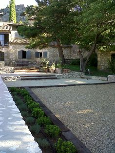 gravel court with beds--no grass