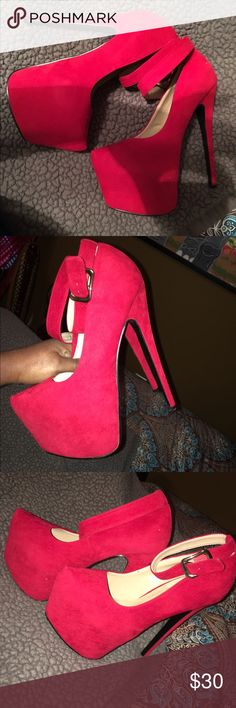 Red hot heels Sexy red hot heels worn once.. step high and steal the show with these sexy red heels.. like new!! High platform but comfortable!! Great quality.. size8-8.5 Shoes Platforms
