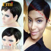 Celebrity Cheap Pixie Cut Human Brazilian Hair Very Short Wig Natural Black Human None Lace Guleless Wig For Black Women Wigs