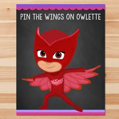 PJ Masks Pin the Tail Game Owlette - Pink Chalkboard - Girl PJ Masks Game - PJ Masks Birthday Girl Party - Pj Masks Printable Party Game