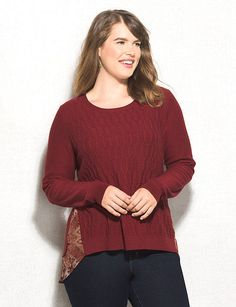 Plus Size Mixed Media Pullover
