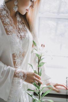 """Купить """"Нежная ..."""" - шелковый пеньюар - невеста, для невесты, утро невесты, свадьба, свадебный подарок"""