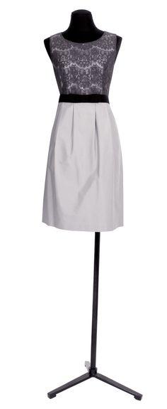 1.2.3 Paris - Robe Poésie 149€ #gris #dentelle #bimatiere #mode #printemps #ete #123