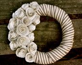Shabby Chic Paper Rose Wreath by Pretty Foldings Etsy