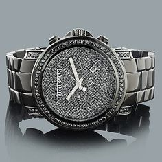 Mens Black Diamond Watch 3ct LUXURMAN Oversized Watches