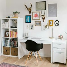 Looking to refresh your home office + need some inspo? Check out the latest ✨HOME TOUR✨ of {link in bio!} It's brimming with mid-century modern details + bohemian-inspired accents! Home Room Design, Home Office Design, Home Office Decor, Home Decor, Office Setup, Office Organization, Office Ideas, Office Storage, Office Furniture