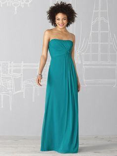 DB134 Elegant Strapless Long Chiffon Teal Bridesmaid Dresses Free Shipping  $109.37