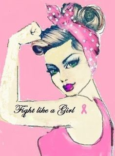 Fight like a girl quote pink art illustration ribbon girl. woman breast cancer awareness