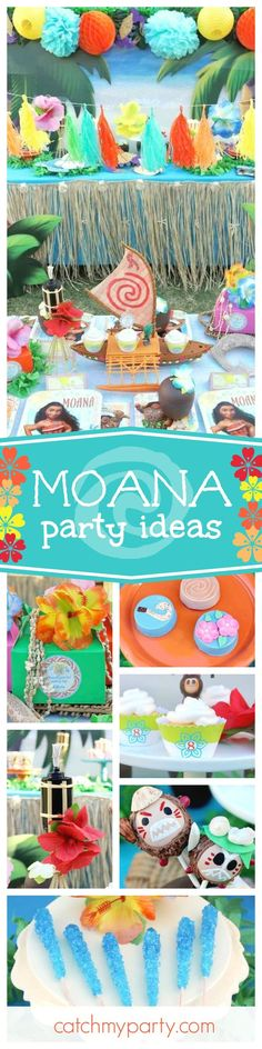 Be transported to a far away tropical island with this fantastic Moana birthday party. The kakamora cake pops are awesome!! See more party ideas and share yours at CatchMyParty.com