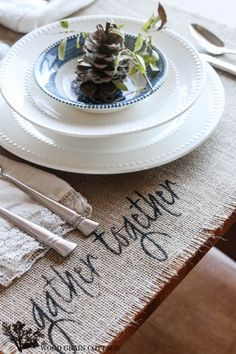 Thanksgiving Burlap Placemats by The Wood Grain Cottage