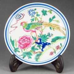 Hand-painted Chinese Famille Rose Porcelain Plate w Magpie & Peony