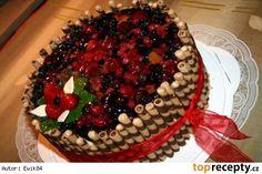 Velký ovocný dort - návod Cake Designs, Waffles, Cake Recipes, Food And Drink, Pie, Birthday Cake, Breakfast, Ideas, Strawberry Sponge Cake