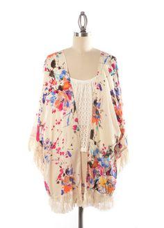 In Bloom Kimono With Fringe Detail – DejaVu