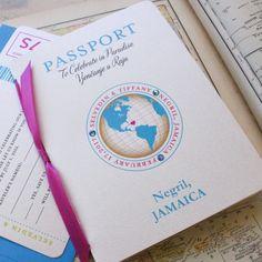 Journey of Love Passport Wedding Invitation Negril by beyonddesign