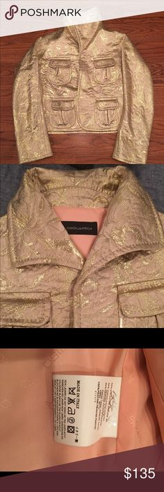 Dsquared2 Gold Brocade Crop Jacket 40-42 Dsquared2 Gold Brocade Crop Jacket fits 40-42. Size tag is missing. DSQUARED Jackets & Coats