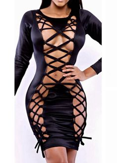 Sexy Hollow Design Round Neck Long Sleeve Dress
